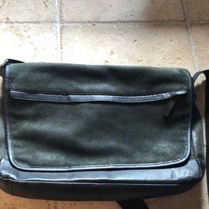Coach leather fold over messenger bag